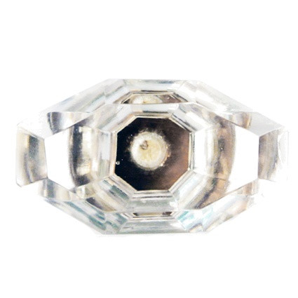 Glas-Möbelknopf - Rojin | transparent achtkantig geschliffen (oval)